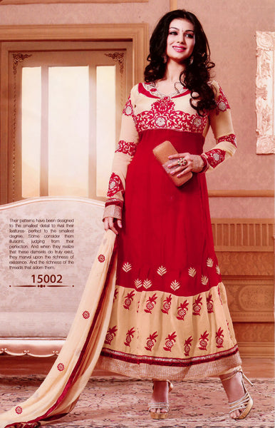 RED-BEIGE GEORGETTE UNSTITCHED ANARKALI SALWAR KAMEEZ SUIT DRESS MATERIAL w EMBR LADIES DEN - Ladies Den