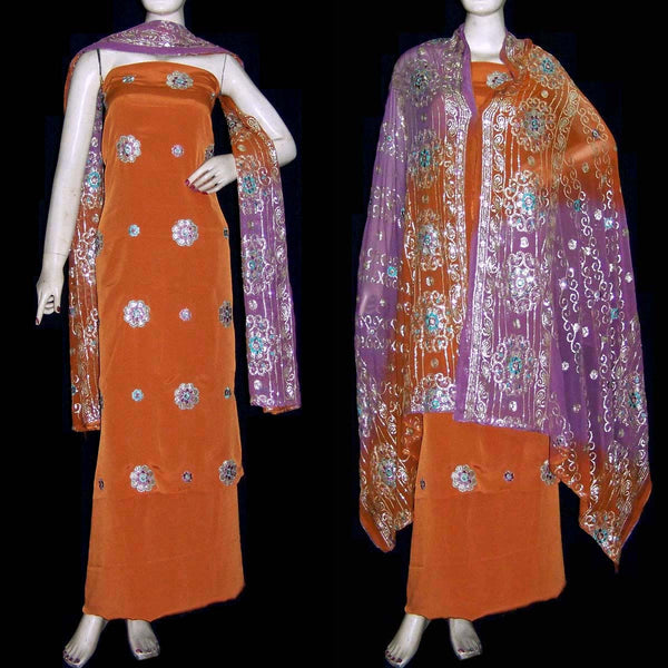 RUSTY BROWN CREPE UNSTITCHED SALWAR KAMEEZ SUIT DRESS MATERIAL HEAVY DUPATTA RESHAM & SEQUINS EMBR LADIES DEN - Ladies Den