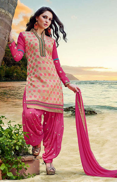 FAUN-HOTPINK BANARASI SILK UNSTITCHED PATIALA SALWAR KAMEEZ SUIT DRESS MATERIAL w EMBR LADIES DEN - Ladies Den