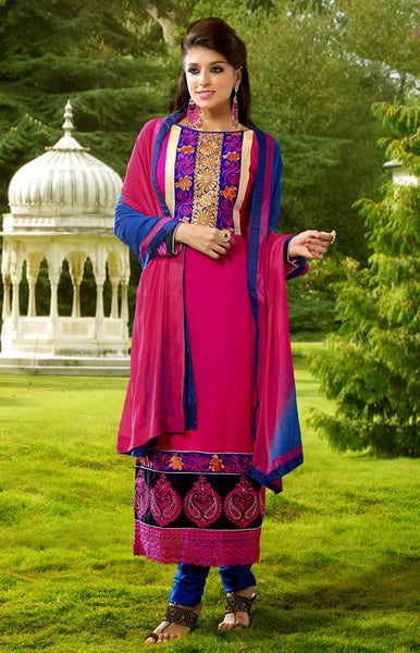 DEEPPINK-BLUE GEORGETTE UNSTITCHED LONG SALWAR KAMEEZ SUIT DRESS MATERIAL DUPATTA w EMBR LADIES DEN - Ladies Den