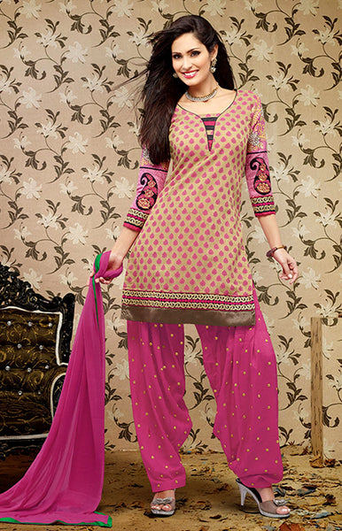 DARK BEIGE-HOT PINK BANARASI SILK UNSTITCHED PATIALA SALWAR KAMEEZ SUIT DRESS MATERIAL w EMBR LADIES DEN - Ladies Den