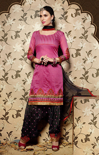 MEDIUM PINK-BLACK CHANDERI SILK UNSTITCHED PATIALA SALWAR KAMEEZ SUIT DRESS MATERIAL w EMBR LADIES DEN - Ladies Den