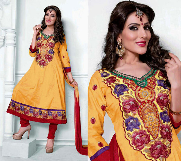 YELLOW-RED UNSTITCHED ANARKALI SALWAR KAMEEZ SUIT DRESS MATERIAL w EMBR LADIES DEN - Ladies Den
