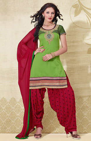 GREEN-RED CHANDERI SILK UNSTITCHED PATIALA SALWAR KAMEEZ SUIT DRESS MATERIAL w EMBR LADIES DEN - Ladies Den