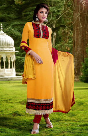 DEEP YELLOW-RED GEORGETTE UNSTITCHED LONG SALWAR KAMEEZ SUIT DRESS MATERIAL DUPATTA w EMBR LADIES DEN - Ladies Den