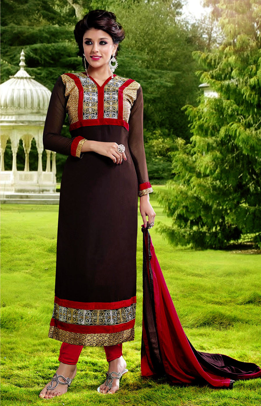 COFFEE BROWN-RED GEORGETTE UNSTITCHED LONG SALWAR KAMEEZ SUIT DRESS MATERIAL DUPATTA w EMBR LADIES DEN - Ladies Den