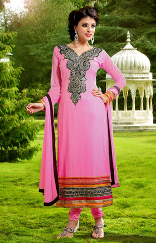PINK GEORGETTE UNSTITCHED LONG SALWAR KAMEEZ SUIT DRESS MATERIAL DUPATTA w EMBR LADIES DEN - Ladies Den