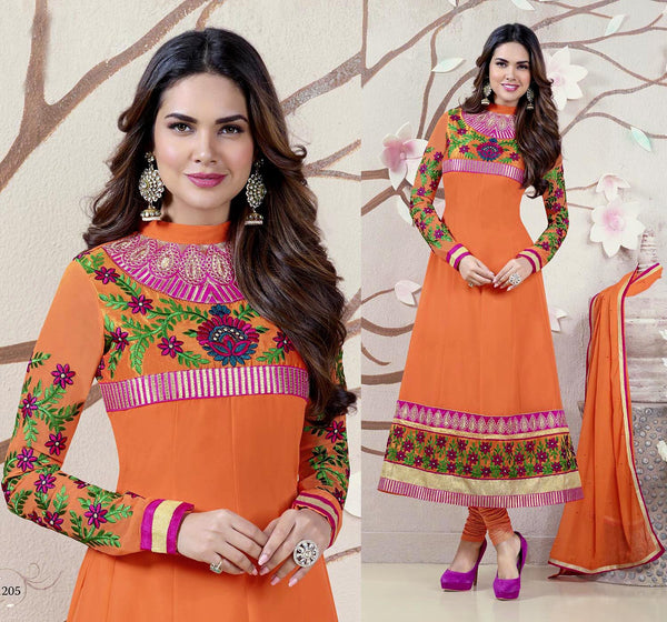 ORANGE GEORGETTE UNSTITCHED ANARKALI SALWAR KAMEEZ SUIT DRESS MATERIAL w EMBR LADIES DEN - Ladies Den