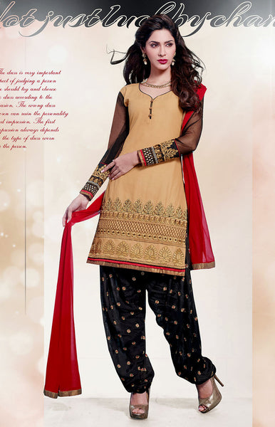 DARK BEIGE-BLACK COTTON UNSTITCHED PATIALA SALWAR KAMEEZ SUIT DRESS MATERIAL w EMBR LADIES DEN - Ladies Den