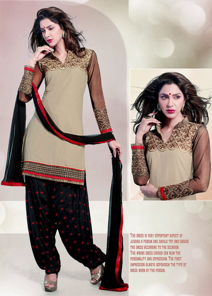 DULL BEIGE-BLACK COTTON UNSTITCHED PATIALA SALWAR KAMEEZ SUIT DRESS MATERIAL w EMBR LADIES DEN - Ladies Den