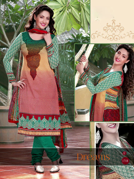 BEIGE-RED-GREEN PRINTED PASHMINA WOOL UNSTITCHED SALWAR KAMEEZ SUIT DRESS MATERIAL LADIES DEN - Ladies Den