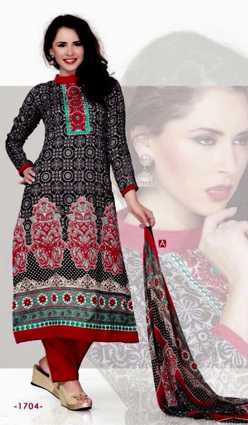 BLACK-RED PRINTED PASHMINA WOOL UNSTITCHED SALWAR KAMEEZ SUIT DRESS MATERIAL w EMBR LADIES DEN - Ladies Den