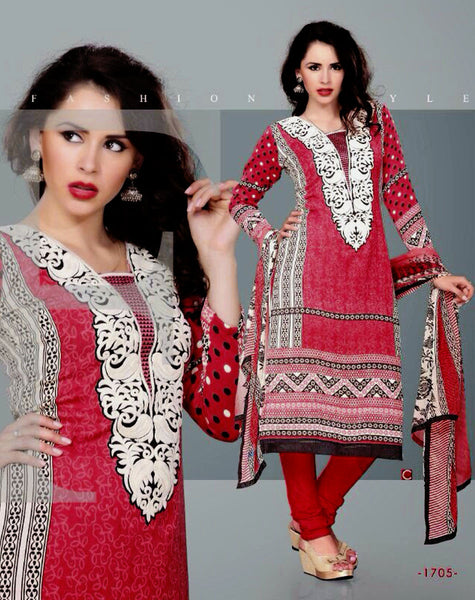 MAROON RED PRINTED PASHMINA WOOL UNSTITCHED SALWAR KAMEEZ SUIT DRESS MATERIAL w EMBR LADIES DEN - Ladies Den