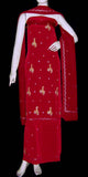 RED CREPE UNSTITCHED SALWAR KAMEEZ SUIT DRESS MATERIAL RESHAM & SEQUINS EMBR LADIES DEN - Ladies Den