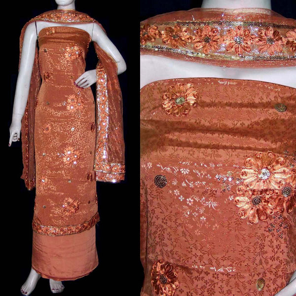 BROWN JACQUARD CREPE UNSTITCHED SALWAR KAMEEZ SUIT DRESS MATERIAL HEAVY DUPATTA RIBBON WORK LADIES DEN - Ladies Den