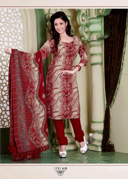 RED-ROSEBROWN PRINTED PASHMINA WOOL UNSTITCHED SALWAR KAMEEZ SUIT SHAWL DRESS MATERIAL LADIES DEN - Ladies Den