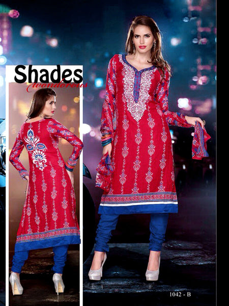 RED-BLUE PRINTED PASHMINA WOOL UNSTITCHED LONG SALWAR KAMEEZ SUIT DRESS MATERIAL w EMBR LADIES DEN - Ladies Den