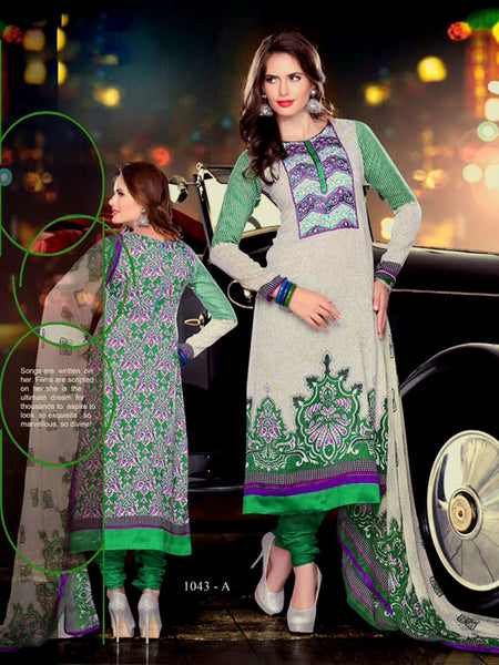 BEIGE-GREEN PRINTED PASHMINA WOOL UNSTITCHED LONG SALWAR KAMEEZ SUIT DRESS MATERIAL w EMBR LADIES DEN - Ladies Den