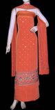 CORAL ORANGE CREPE UNSTITCHED SALWAR KAMEEZ SUIT DRESS MATERIAL KUNDAN & SEQUINS WORK LADIES DEN - Ladies Den