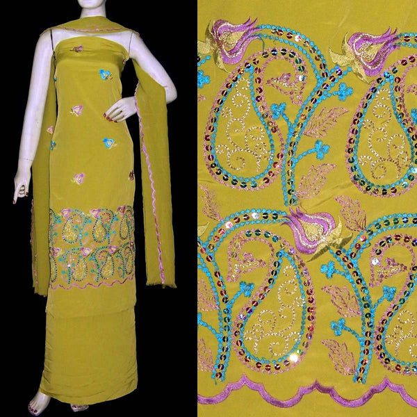 DULL YELLOW CREPE UNSTITCHED SALWAR KAMEEZ SUIT DRESS MATERIAL RESHAM & SEQUINS EMBR LADIES DEN - Ladies Den