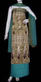 DRAB BROWN-DULL TURQUOISE PRINTED JACQUARD CREPE UNSTITCHED SALWAR KAMEEZ SUIT DRESS MATERIAL w EMBR LADIES DEN - Ladies Den