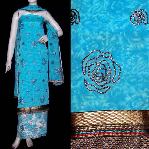SKY BLUE PRINTED CREPE UNSTITCHED LONG SALWAR KAMEEZ SUIT DRESS MATERIAL DUPATTA SEQUINS WORK LADIES DEN - Ladies Den
