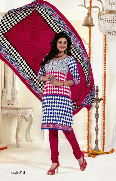 DARKBLUE-WHITE-RED PRINTED COTTON UNSTITCHED SALWAR KAMEEZ SUIT DRESS MATERIAL LADIES DEN - Ladies Den