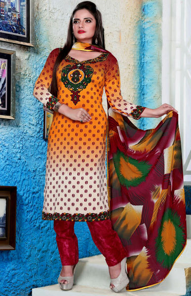 SAFFRON-RED PRINTED NECK GEORGETTE CREPE UNSTITCHED SALWAR KAMEEZ SUIT DRESS MATERIAL LADIES DEN - Ladies Den