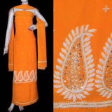 SAFFRON GEORGETTE CREPE UNSTITCHED SALWAR KAMEEZ SUIT DRESS MATERIAL PEARL BEADS WORK LADIES DEN - Ladies Den