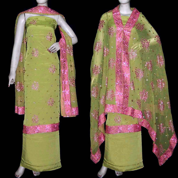 CARDAMOM GREEN CREPE UNSTITCHED SALWAR KAMEEZ SUIT DRESS MATERIAL HEAVY DUPATTA RESHAM EMBR LADIES DEN - Ladies Den