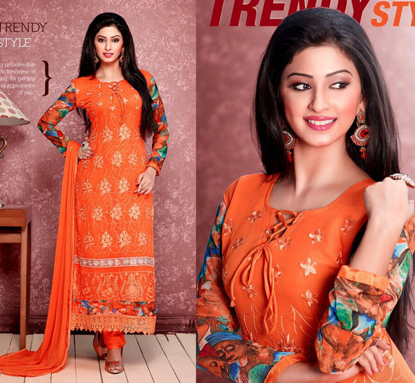 SAFFRON CHIFFON UNSTITCHED LONG SALWAR KAMEEZ SUIT DRESS MATERIAL w RESHAM EMBR LADIES DEN - Ladies Den