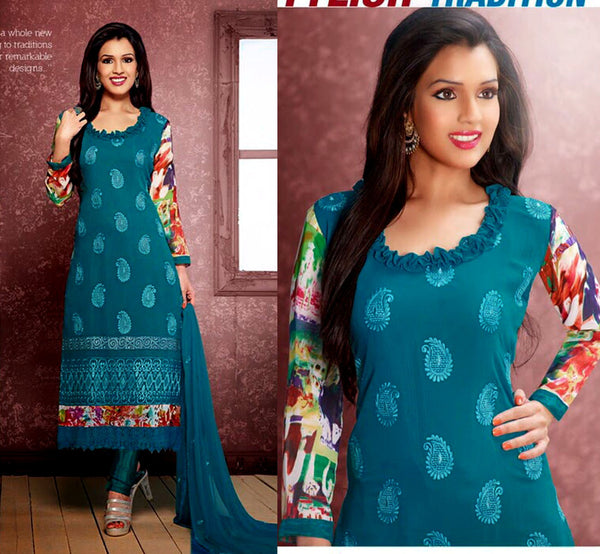 PEACOCK BLUE CHIFFON UNSTITCHED LONG SALWAR KAMEEZ SUIT DRESS MATERIAL w RESHAM EMBR LADIES DEN - Ladies Den