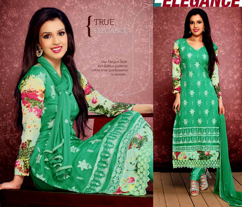 MINT GREEN CHIFFON UNSTITCHED LONG SALWAR KAMEEZ SUIT DRESS MATERIAL w RESHAM EMBR LADIES DEN - Ladies Den