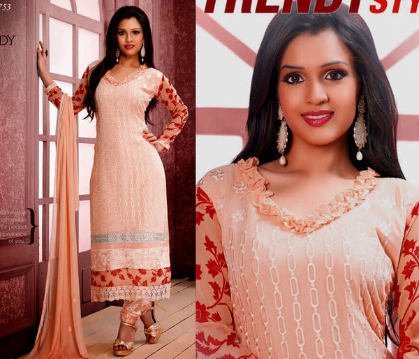 PALE PEACH CHIFFON UNSTITCHED LONG SALWAR KAMEEZ SUIT DRESS MATERIAL w RESHAM EMBR LADIES DEN - Ladies Den