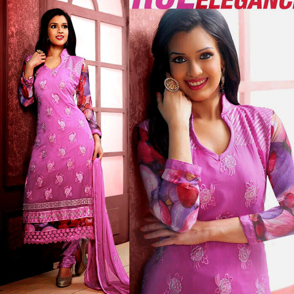 ORCHID PINK CHIFFON UNSTITCHED LONG SALWAR KAMEEZ SUIT DRESS MATERIAL w RESHAM EMBR LADIES DEN - Ladies Den