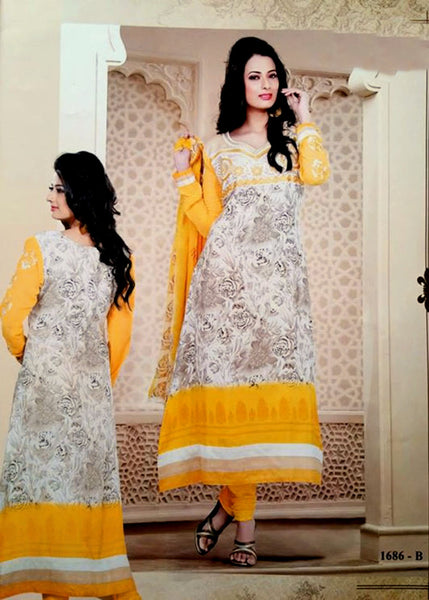 FAUN-YELLOW PRINTED CREPE UNSTITCHED LONG SALWAR KAMEEZ SUIT DRESS MATERIAL w EMBR LADIES DEN - Ladies Den