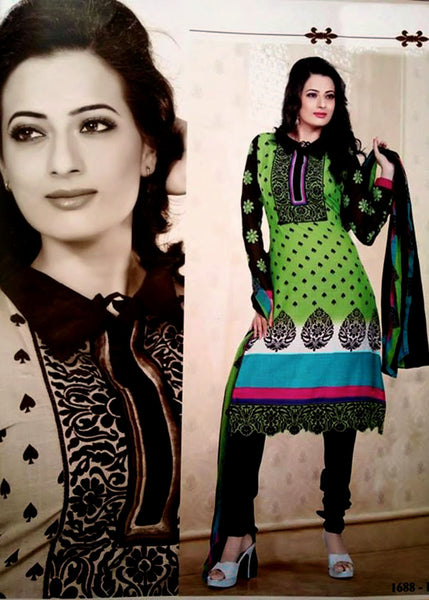 LIGHT GREEN-BLACK PRINTED CREPE UNSTITCHED LONG SALWAR KAMEEZ SUIT DRESS MATERIAL w EMBR LADIES DEN - Ladies Den
