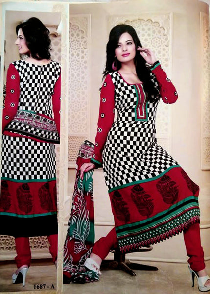 WHITE-BLACK-RED PRINTED CREPE UNSTITCHED LONG SALWAR KAMEEZ SUIT DRESS MATERIAL w EMBR LADIES DEN - Ladies Den