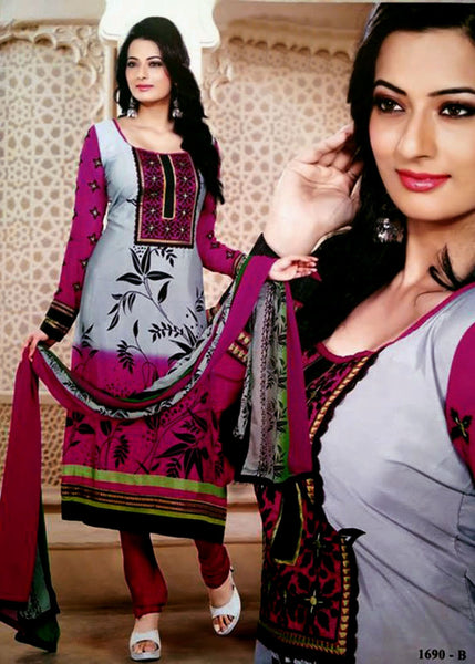 GREY-VIOLETRED PRINTED CREPE UNSTITCHED LONG SALWAR KAMEEZ SUIT DRESS MATERIAL w EMBR LADIES DEN - Ladies Den