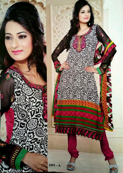 WHITE-VIOLETRED PRINTED CREPE UNSTITCHED LONG SALWAR KAMEEZ SUIT DRESS MATERIAL w EMBR LADIES DEN - Ladies Den