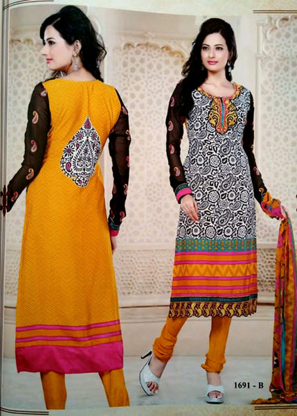 WHITE-BLACK-YELLOW PRINTED CREPE UNSTITCHED LONG SALWAR KAMEEZ SUIT DRESS MATERIAL w EMBR LADIES DEN - Ladies Den