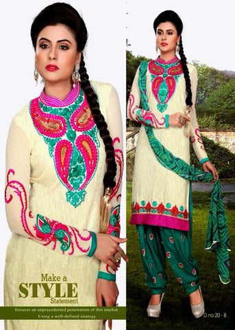 CREAM-TEAL GREEN JACQUARD COTTON UNSTITCHED PATIALA SALWAR KAMEEZ SUIT DRESS MATERIAL w EMBR LADIES DEN - Ladies Den
