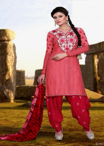 LIGHT CARROT RED JACQUARD COTTON UNSTITCHED PATIALA SALWAR KAMEEZ SUIT DRESS MATERIAL w EMBR LADIES DEN - Ladies Den