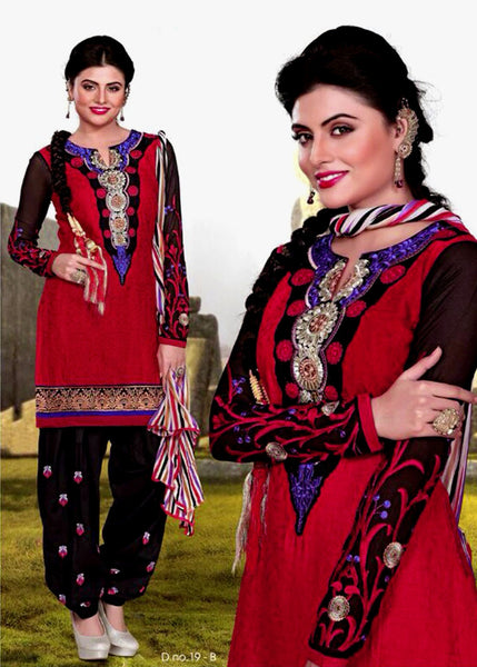 RED-BLACK JACQUARD COTTON UNSTITCHED PATIALA SALWAR KAMEEZ SUIT DRESS MATERIAL w EMBR LADIES DEN - Ladies Den