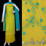 OLIVE YELLOW GEORGETTE UNSTITCHED SALWAR KAMEEZ SUIT DRESS MATERIAL RESHAM & ZARI EMBR LADIES DEN - Ladies Den