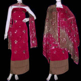 RED-BROWN JACQUARD CREPE UNSTITCHED SALWAR KAMEEZ SUIT DRESS MATERIAL HEAVY DUPATTA SEQUINS EMBR LADIES DEN - Ladies Den