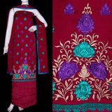 MAROON RED BRASSO GEORGETTE UNSTITCHED SALWAR KAMEEZ SUIT DRESS MATERIAL DUPATTA RESHAM EMBR LADIES DEN - Ladies Den