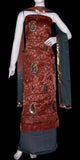 BROWN-GREY JACQUARD CREPE UNSTITCHED SALWAR KAMEEZ SUIT DRESS MATERIAL RESHAM EMBR LADIES DEN - Ladies Den