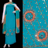 FIROZI CREPE UNSTITCHED SALWAR KAMEEZ SUIT DRESS MATERIAL KUNDAN & SEQUINS WORK LADIES DEN - Ladies Den