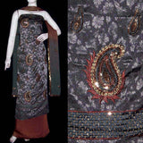 GREY-BROWN JACQUARD CREPE UNSTITCHED SALWAR KAMEEZ SUIT DRESS MATERIAL RESHAM EMBR LADIES DEN - Ladies Den